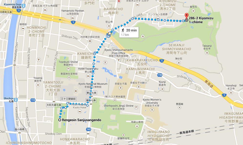 Kiyomizudera map