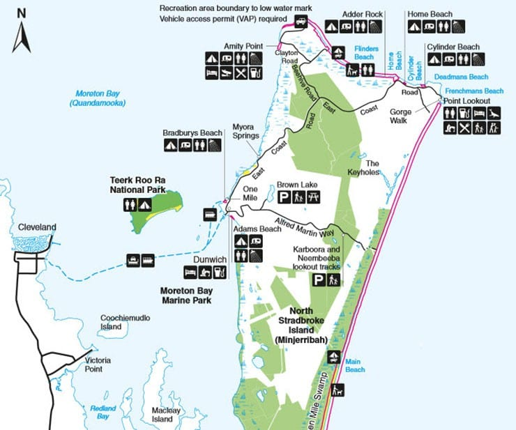 Stradbroke Island Map 15 things to do on North Stradbroke Island