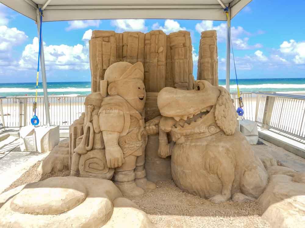 Sand Sculpture on Surfers paradise beachfront