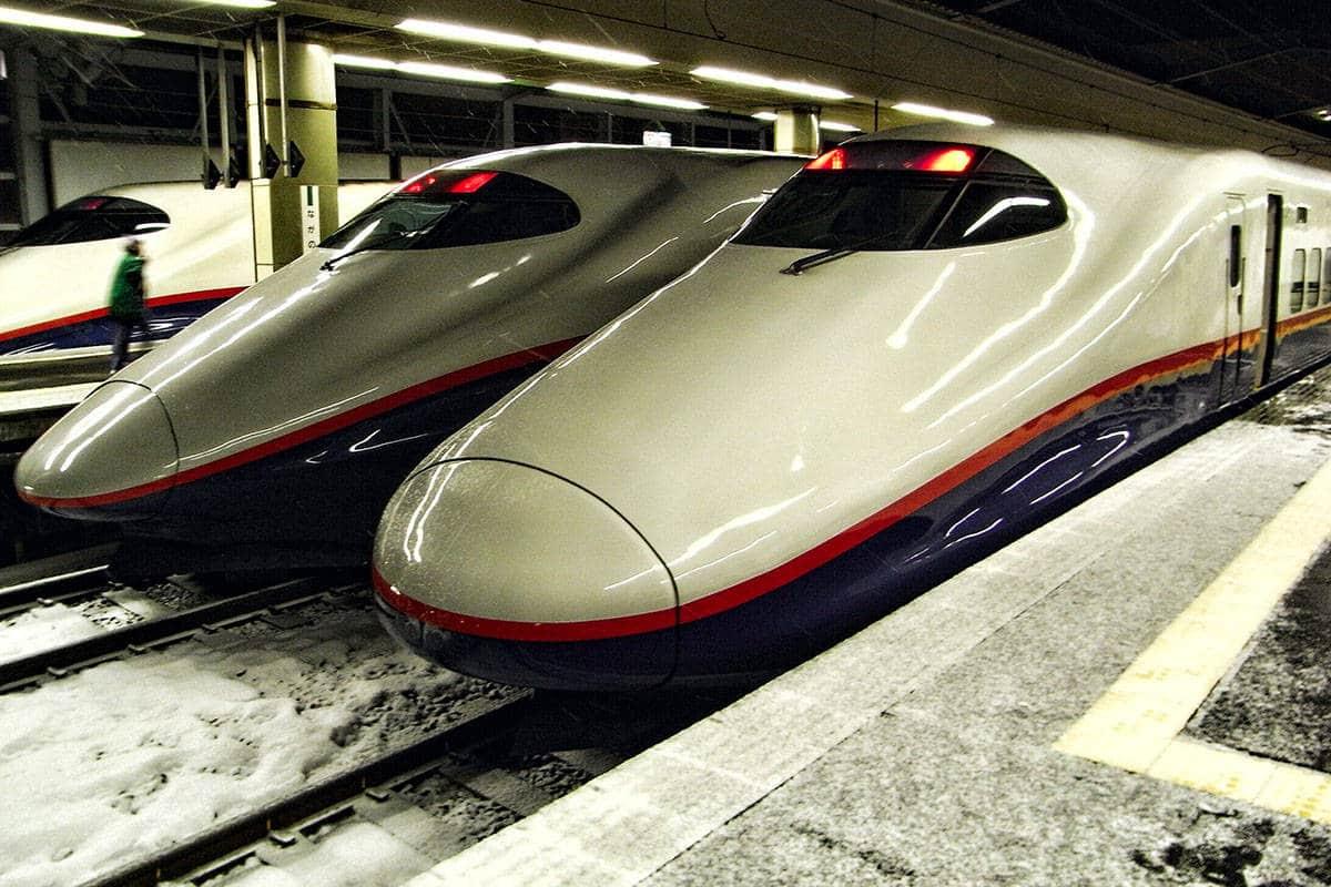 Shinkansen in the snow