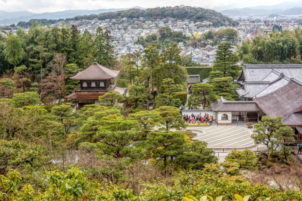 View of Ginkaku ji (Silver Pavilion) from the hill behind the gardens