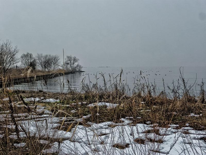 Snow at Lake Biwa