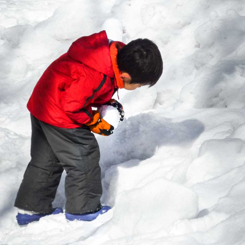 playing with snowballs