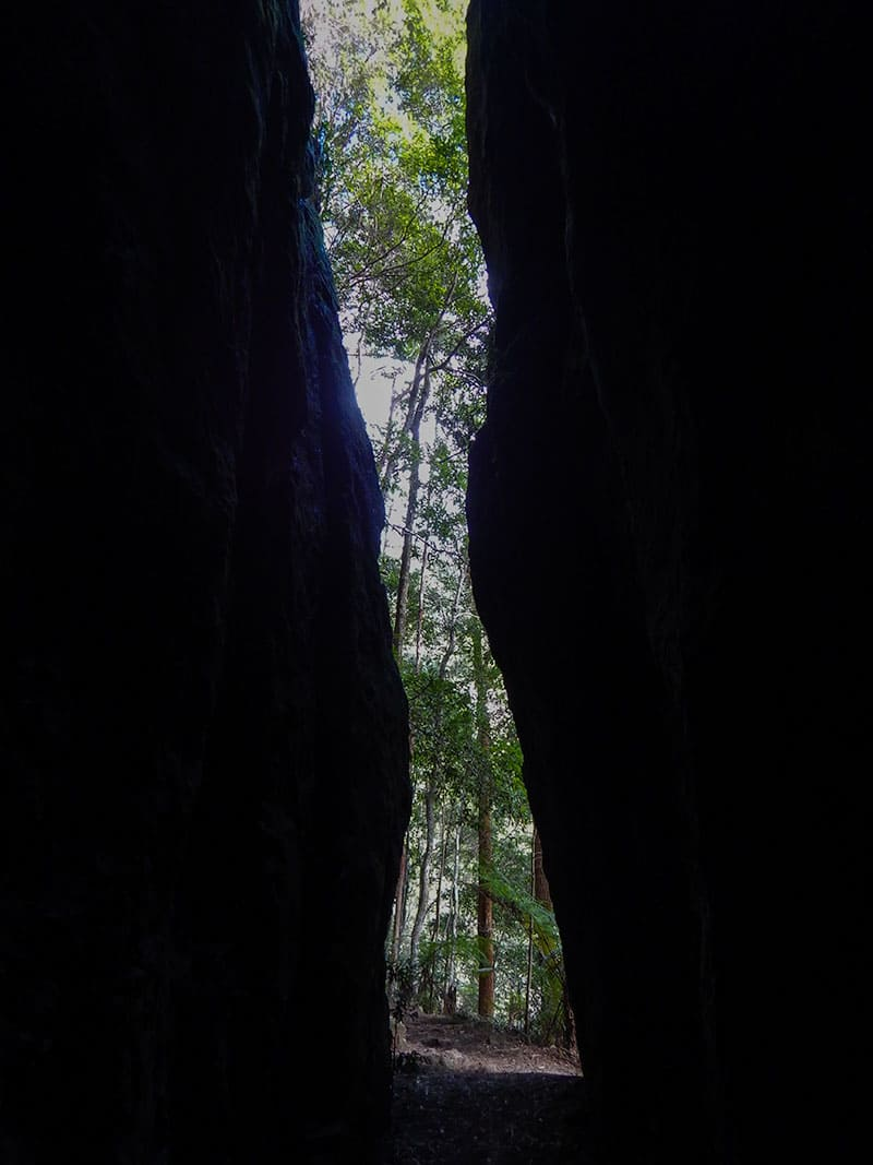 Trail between rock faces