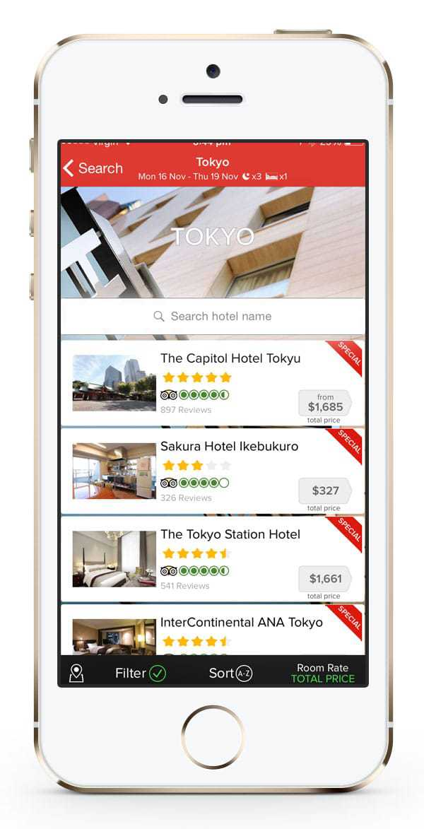 Webjet accommodation search