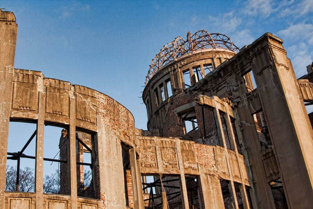 Looking up at the A-Bomb dome in the Hiroshima-peace-park