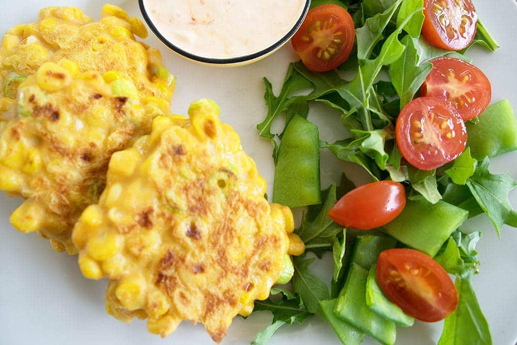 Sweet corn fritters with fresh herbs