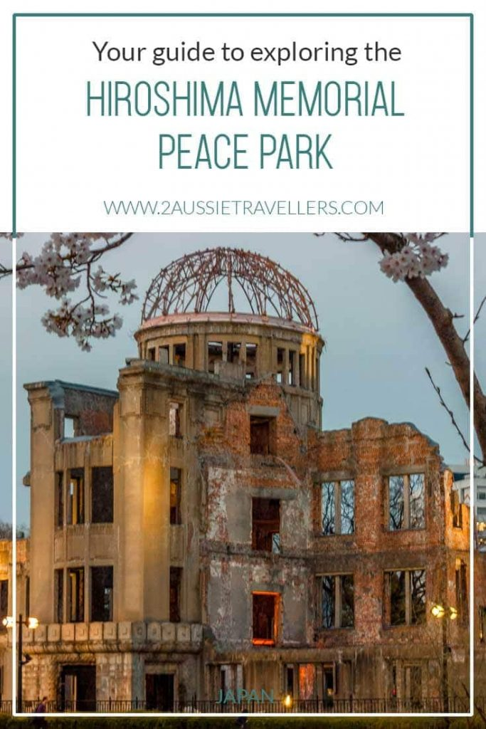 Hiroshima peace park cover image featuring A bomb dome at blue hour