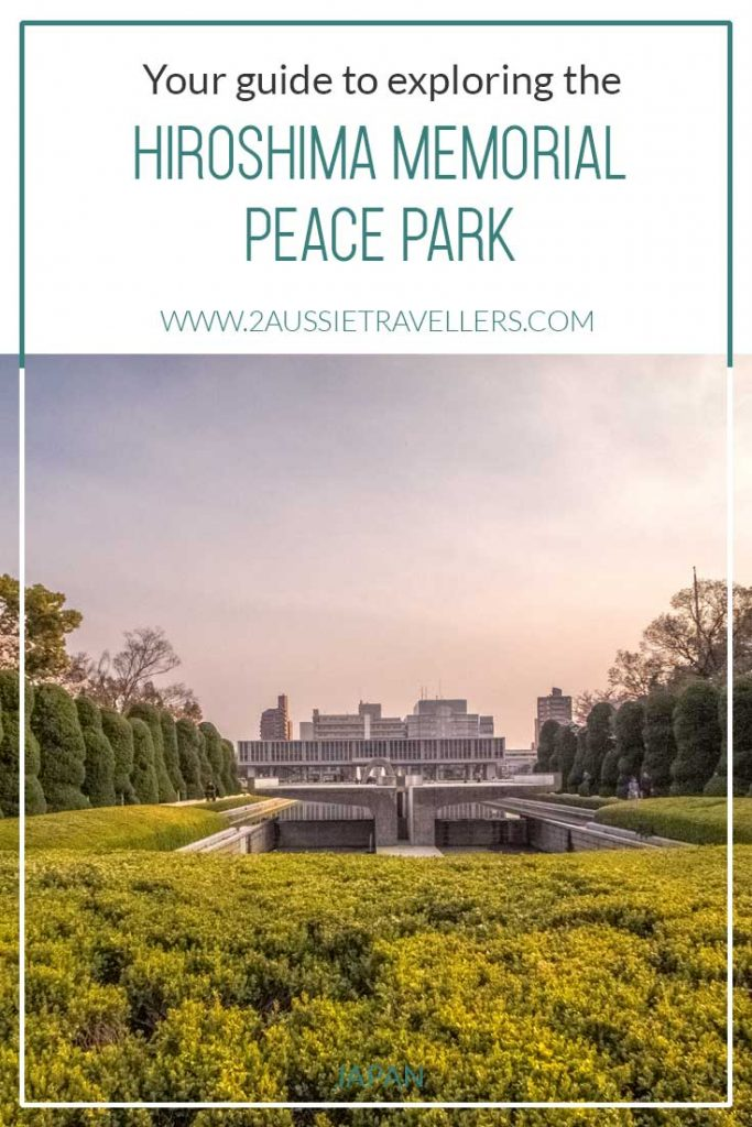 Hiroshima Peace Park cover image featuring museum at sunset