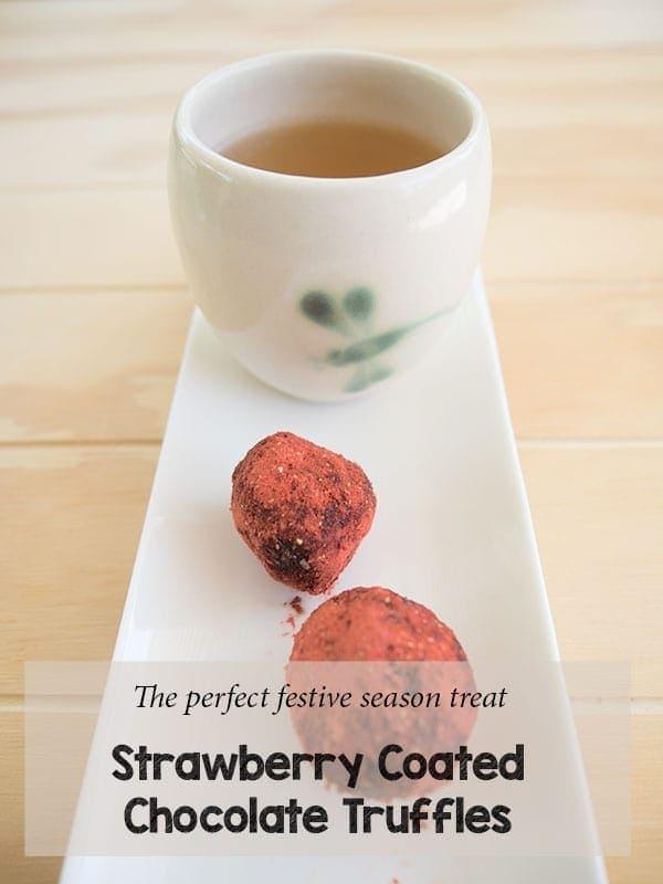 Strawberry coated chocolate truffles