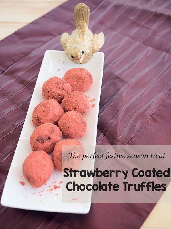 No berries in season for Christmas? Not to worry we turn the chocolate dipped strawberry inside out and create the equally decadent Strawberry dipped chocolate truffle