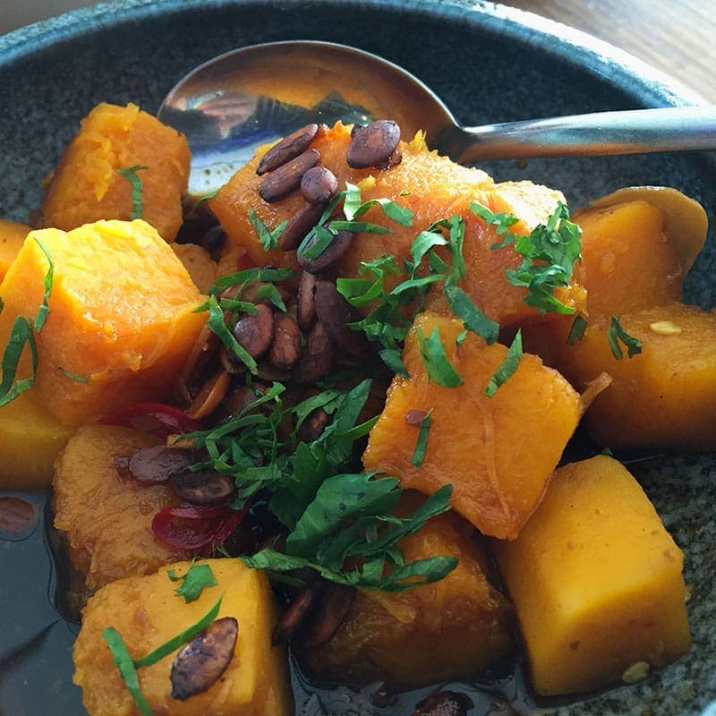 Steamed butternut pumpkin with yellow bean dressing at Madame Wu in Brisbane