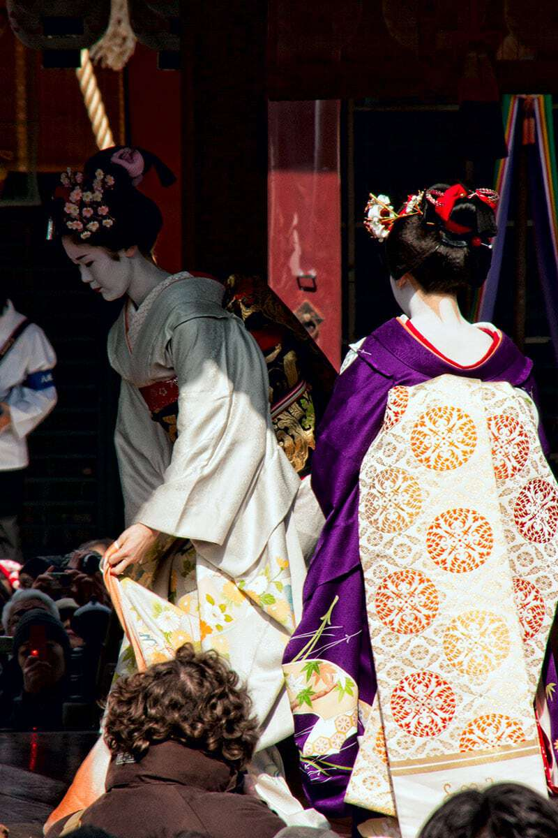 Setsubun is one of the most fun celebrations on the Japanese calendar. Two maiko take the stage to begin the dance performance at Yasaka Shrine in Kyoto