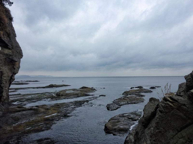 Enoshima Island rock shelves
