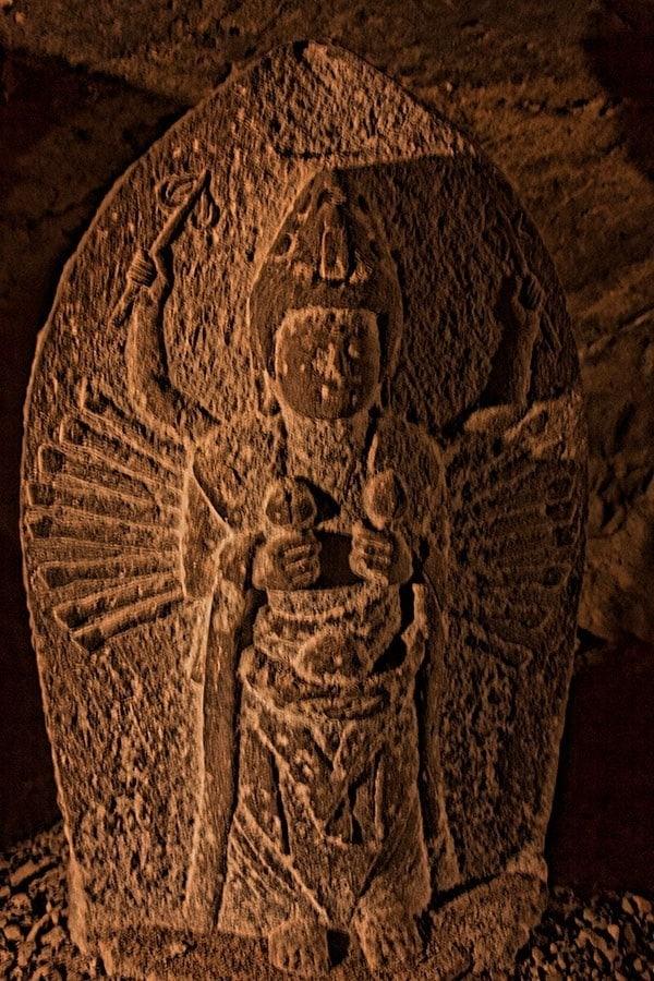 Carving in Iwaya Caves on Enoshima Island
