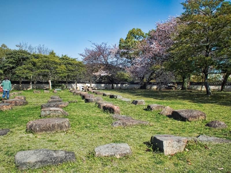 Okayama Castle foundation stones of the original Tenshukaku (main tower)