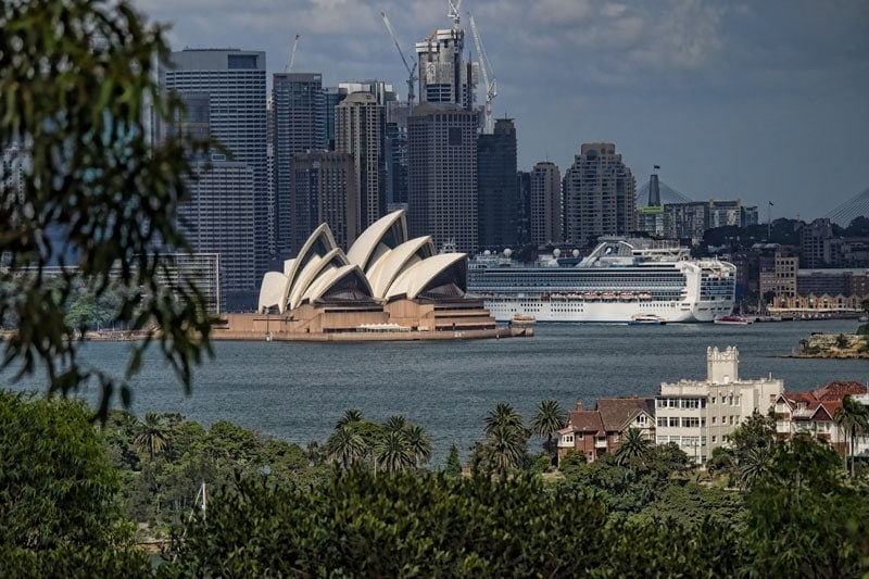 Looking back at the Opera House and city from Taronga Zoo in Sydney