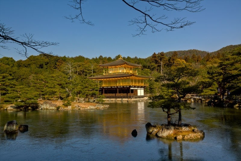 The golden pavilion temple, also known as Kinkaku-ji in Kyoto, Japan