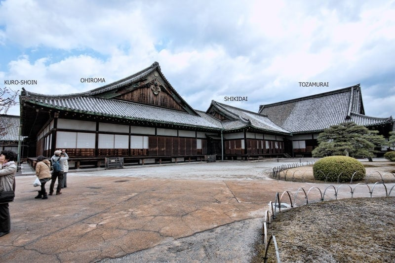 Nijo Castle - layout of the Ninomaru palace complex