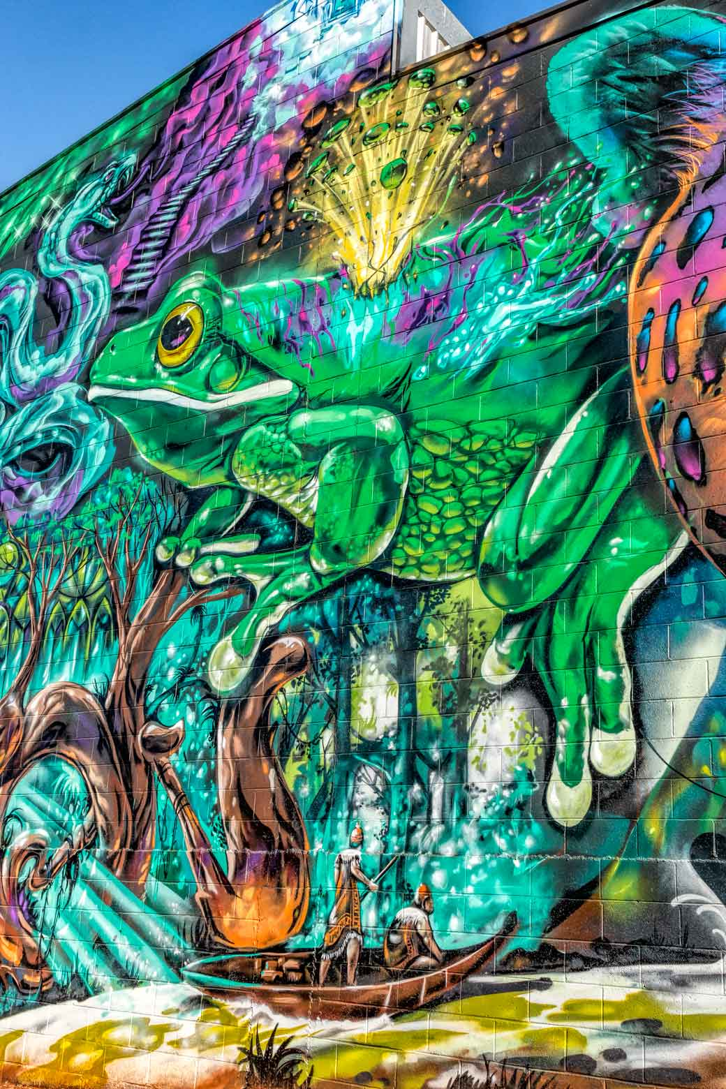 Street art of fantasy Amazon scene on brick building in Toowoomba