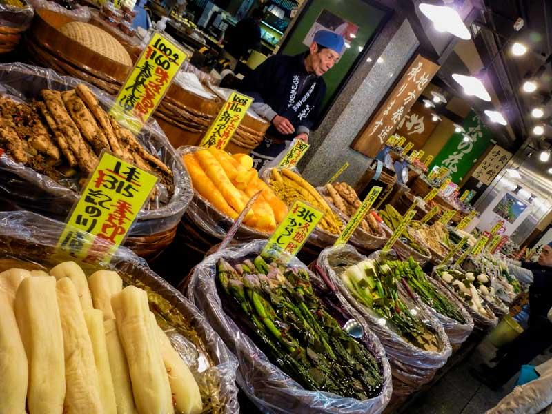 Fresh local vegetables at Nishiki market