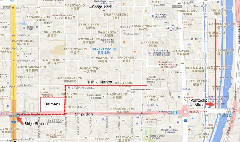 Map to find Nishiki Market in Kyoto