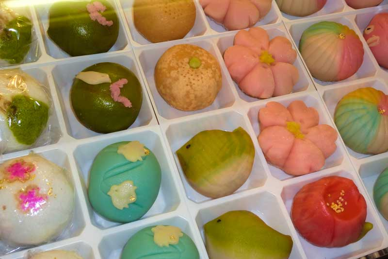 Wagashi are hand formed sweets at Nishiki market