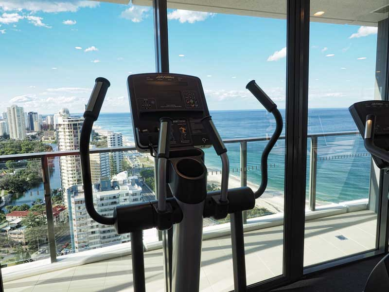 Gym with a view at Rhapsody Resort