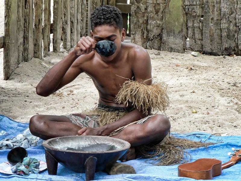 Trying kava in Fiji