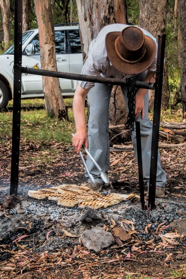 Toasting the damper on the fire at O'Reillys Rainforest Resort