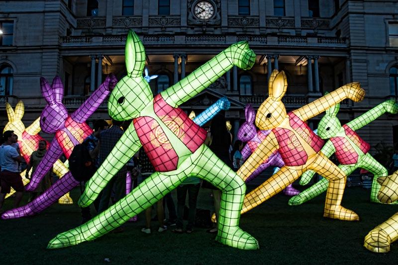 Rabbit zodiac lanterns for Chinese New Year in Sydney
