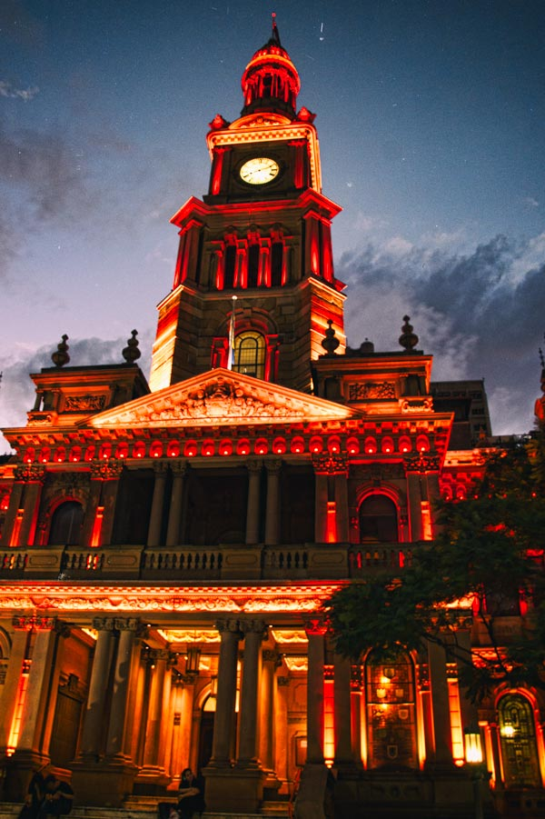 Sydney Town Hall bathed in red light for Chinese New Year