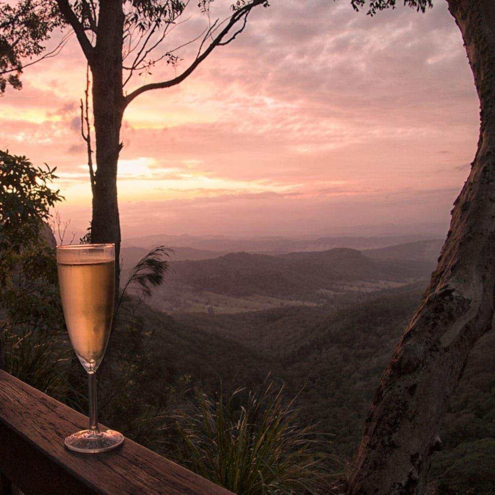 Sunset with O'Reillys Rainforest Retreat at Moran Falls