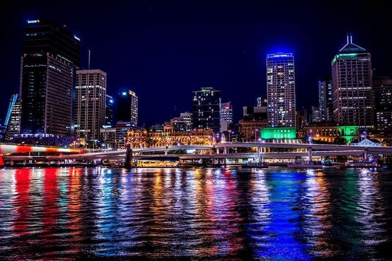 Lights over Brisbane river