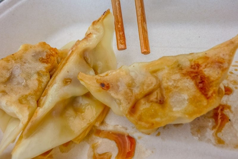 Gyoza with chilli oil