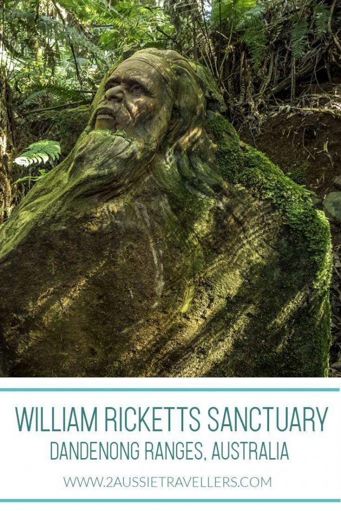 Pottery sculpture at William Ricketts sanctuary of a man with forest backdrop