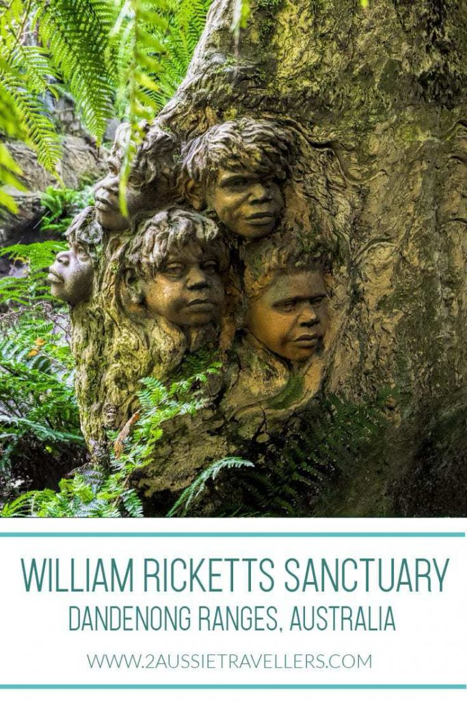 Pottery sculpture at William Ricketts sanctuary of children with forest backdrop