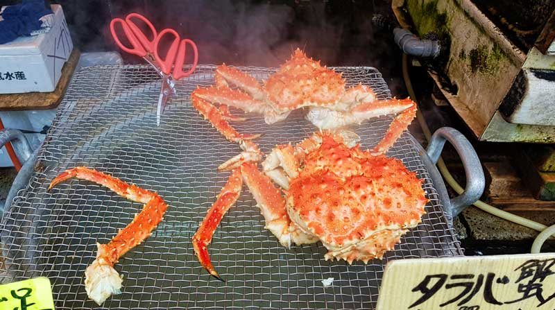 Crab cooking at Hakodate Morning Market