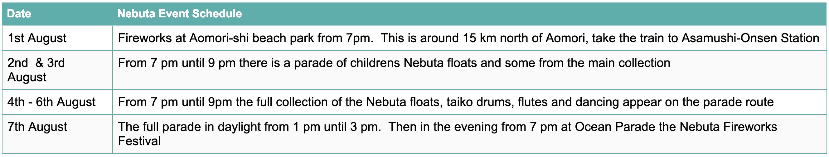 Aomori Nebuta Timetable