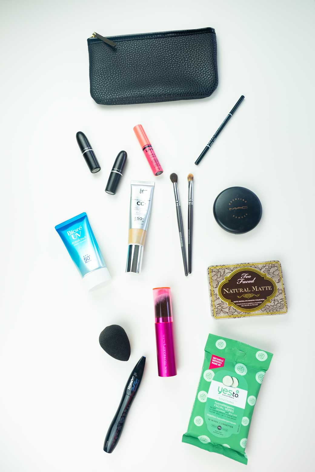 Contents of my capsule makeup bag for travel