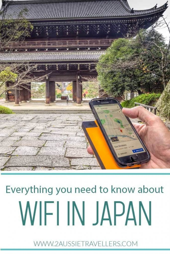 Wifi device and phone in front of temple gate in Japan