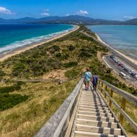 From the lookout down the narrow peninsula on Bruny Island