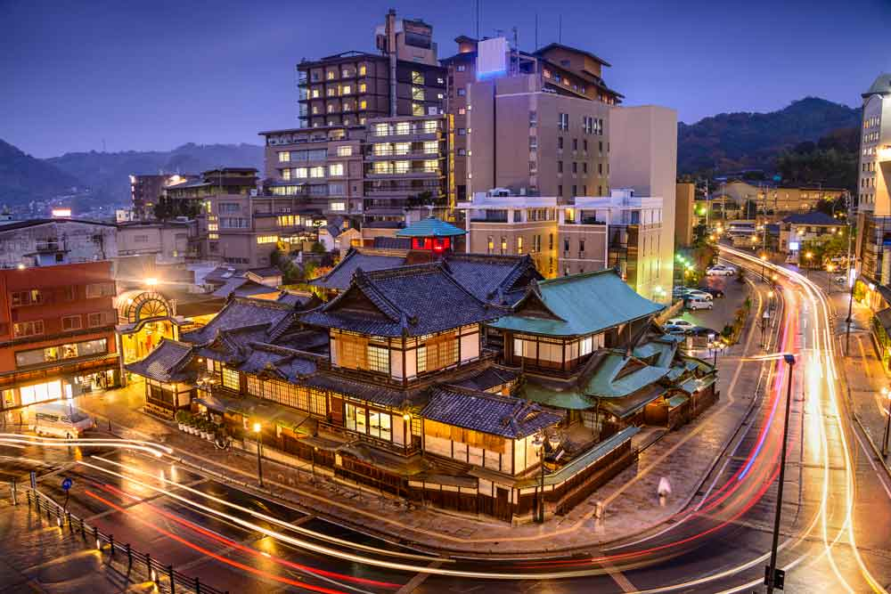 Dogo Onsen in Ehime at night