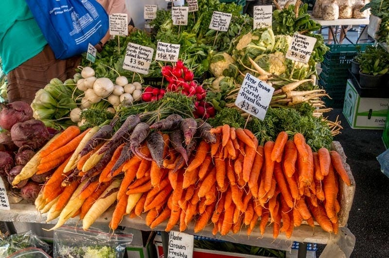 Farm fresh vegetables in Hobart market