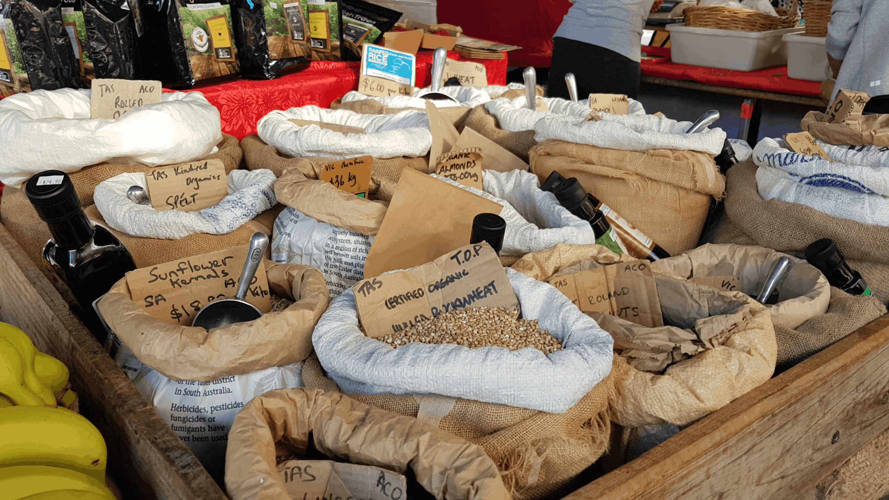 Bulk grains and lentils at Salamanca market