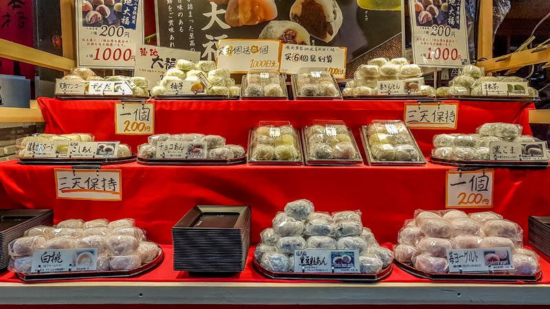 Fresh mochi at Kuromon market