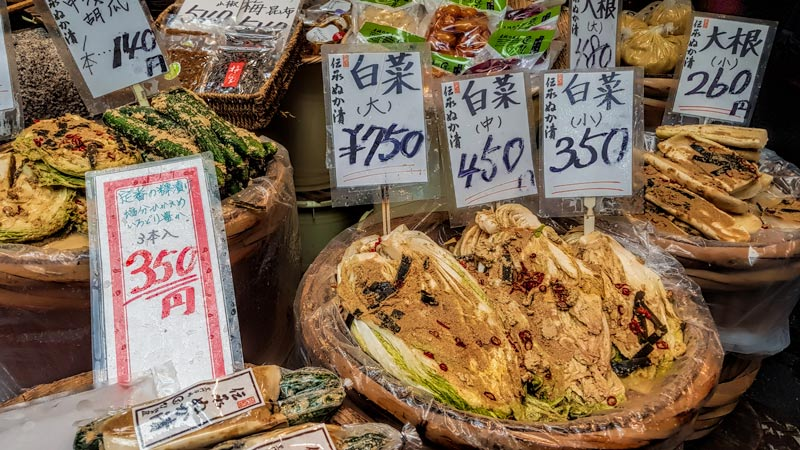 Traditional pickles at Kuromon Market