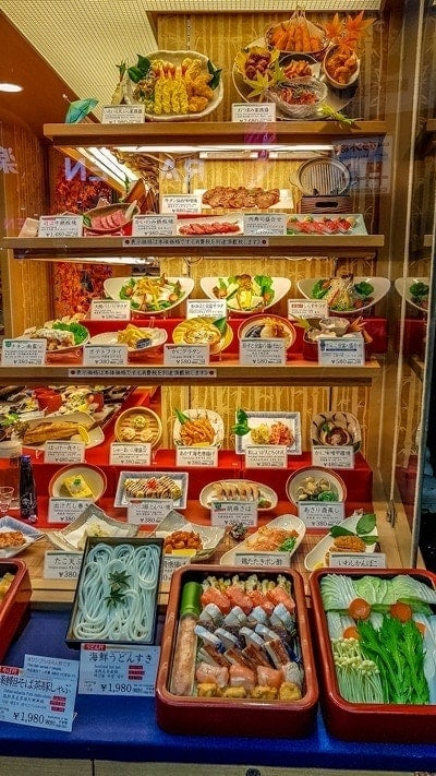 Food replicas in restaurant window in Japan