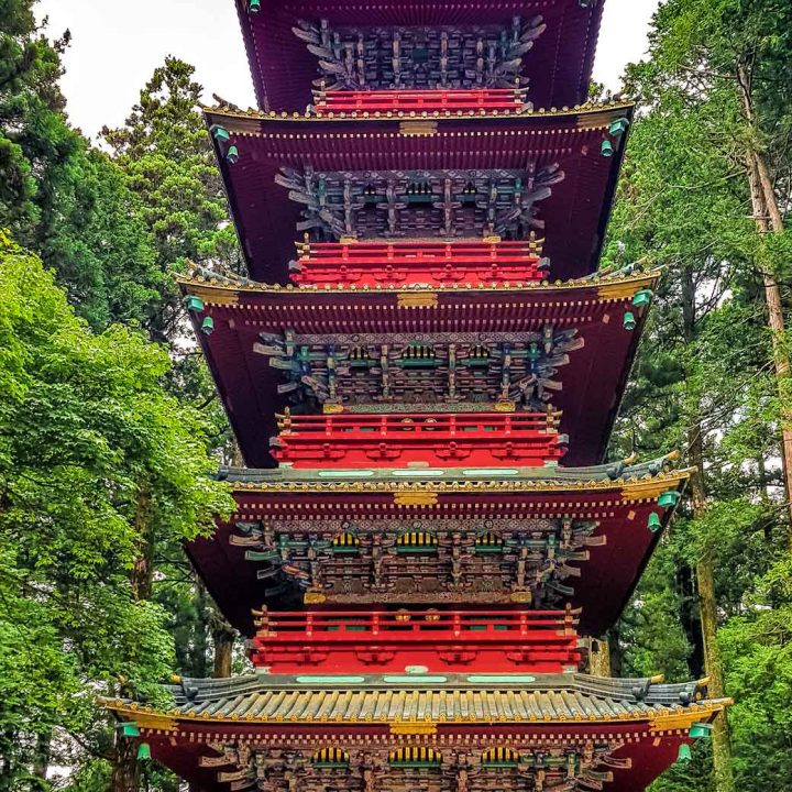 Ornate historic pagoda in Nikko