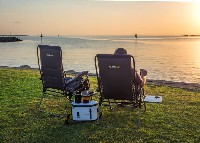 OZtrail camp recliners for sunrise